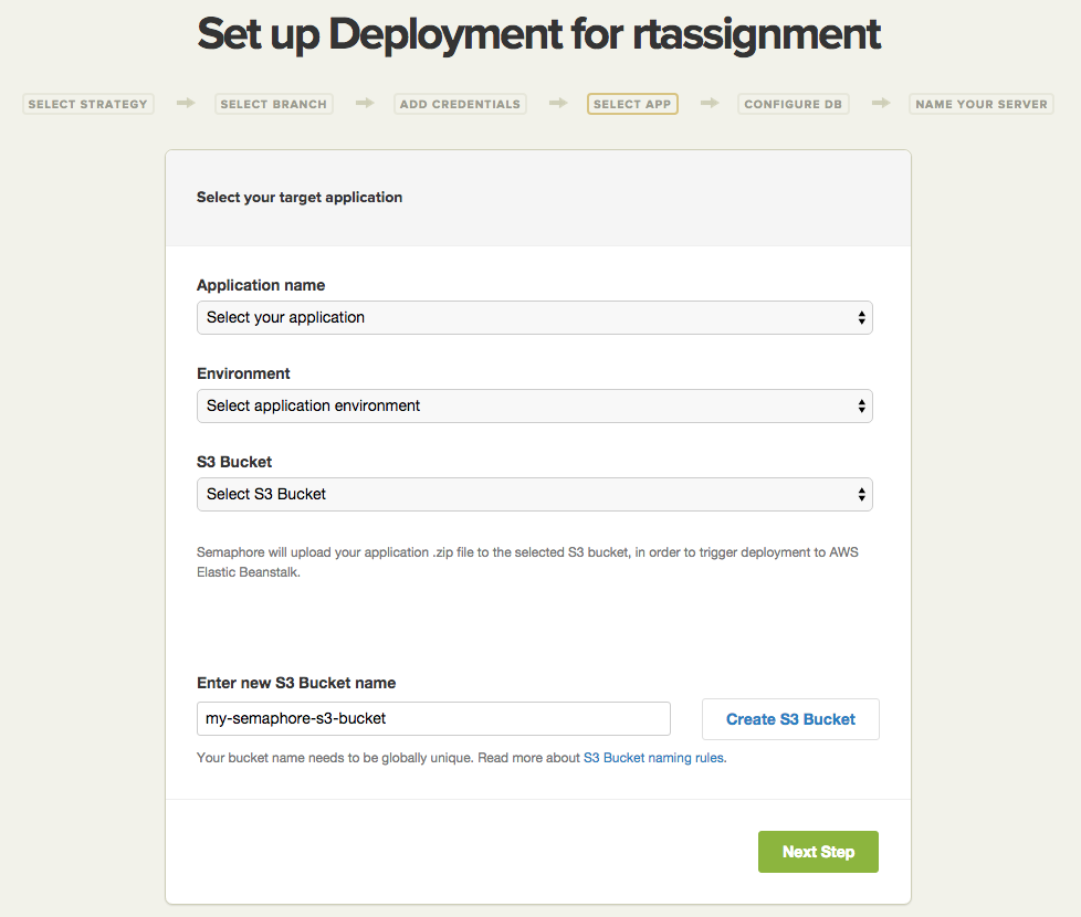 Choose application for Elastic Beanstalk deploy with creating S3 Bucket